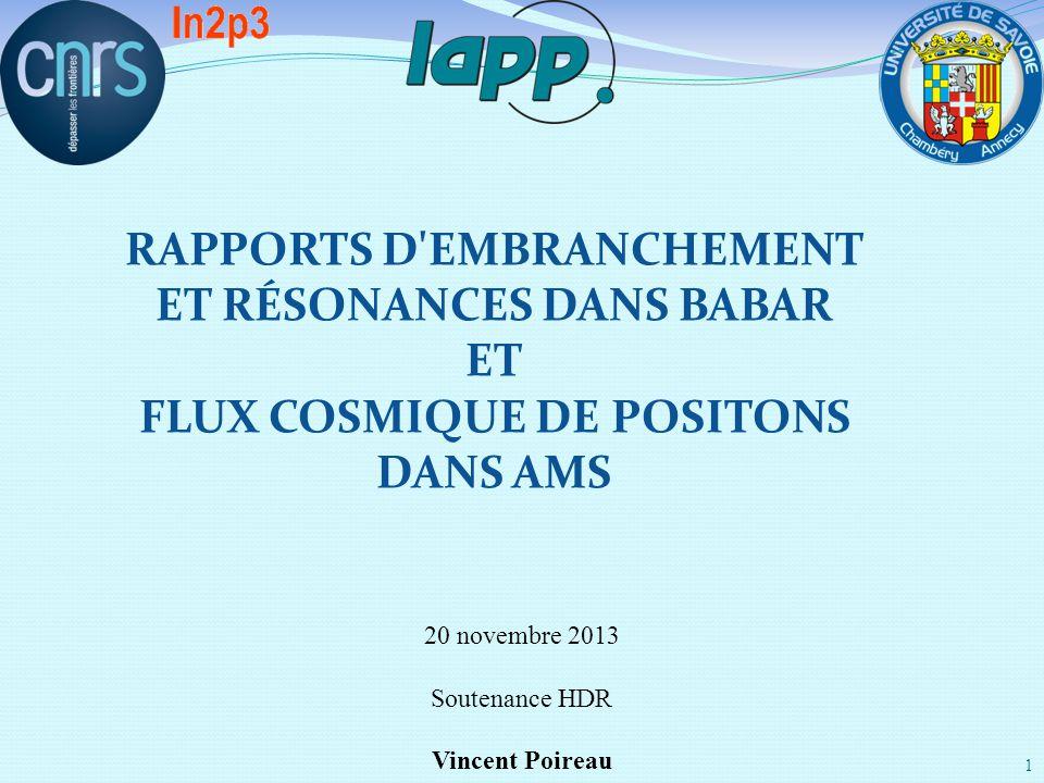 20 novembre 2013 Soutenance HDR Vincent Poireau 1 RAPPORTS D'EMBRANCHEMENT ET RÉSONANCES DANS BABAR ET FLUX COSMIQUE DE POSITONS DANS AMS