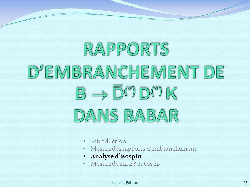 Vincent Poireau 25 Introduction Mesure des rapports dembranchement Analyse disospin Mesure de sin 2 et cos 2