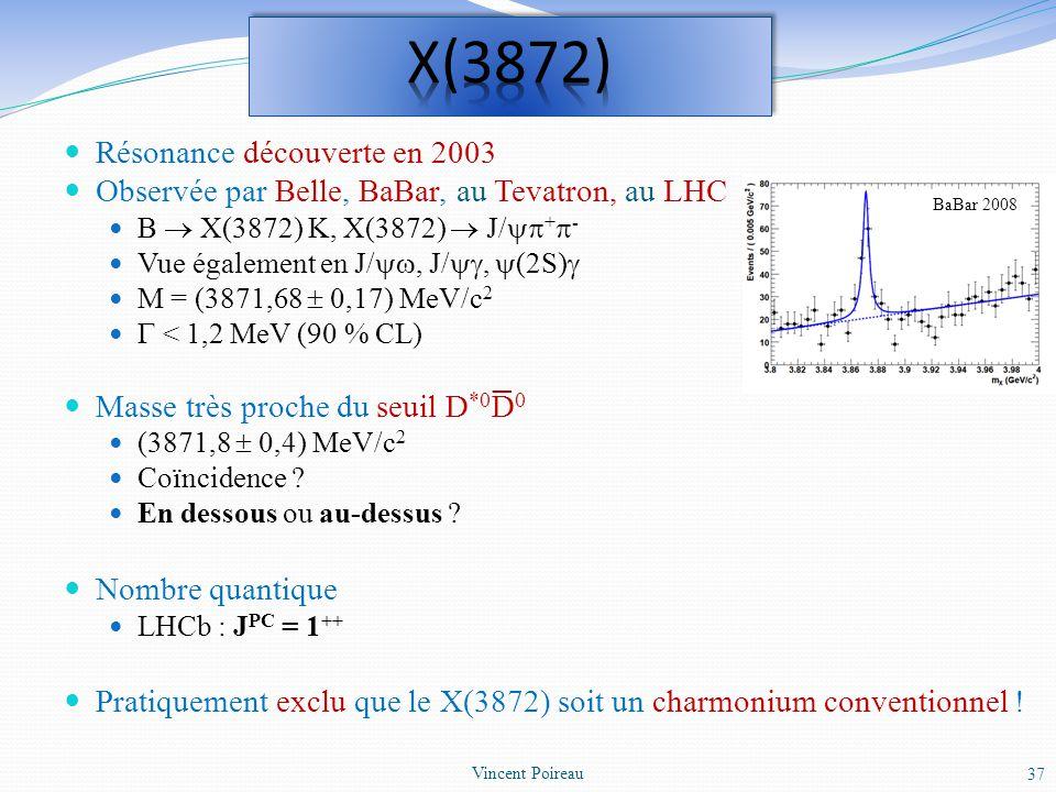 Résonance découverte en 2003 Observée par Belle, BaBar, au Tevatron, au LHC B X(3872) K, X(3872) J/ + - Vue également en J/, J/, (2S) M = (3871,68 0,1