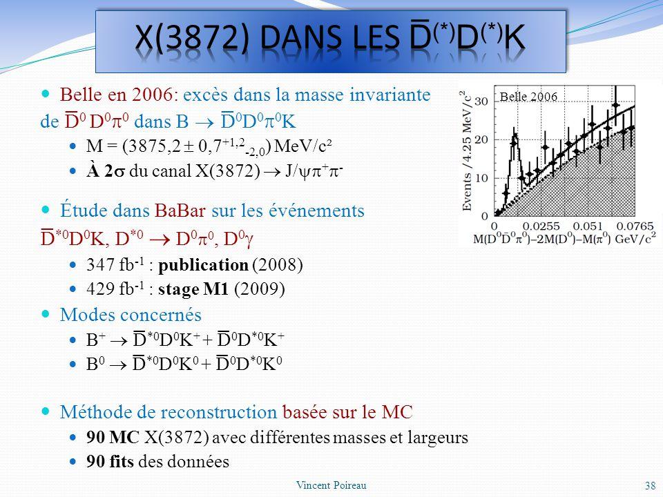 Belle en 2006: excès dans la masse invariante de D 0 D 0 0 dans B D 0 D 0 0 K M = (3875,2 0,7 +1,2 -2,0 ) MeV/c² À 2 du canal X(3872) J/ + - Étude dan