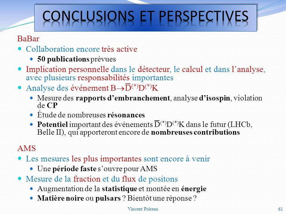 BaBar Collaboration encore très active 50 publications prévues Implication personnelle dans le détecteur, le calcul et dans lanalyse, avec plusieurs r