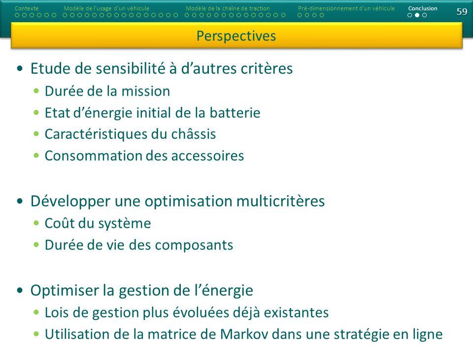 59 Etude de sensibilité à dautres critères Durée de la mission Etat dénergie initial de la batterie Caractéristiques du châssis Consommation des acces