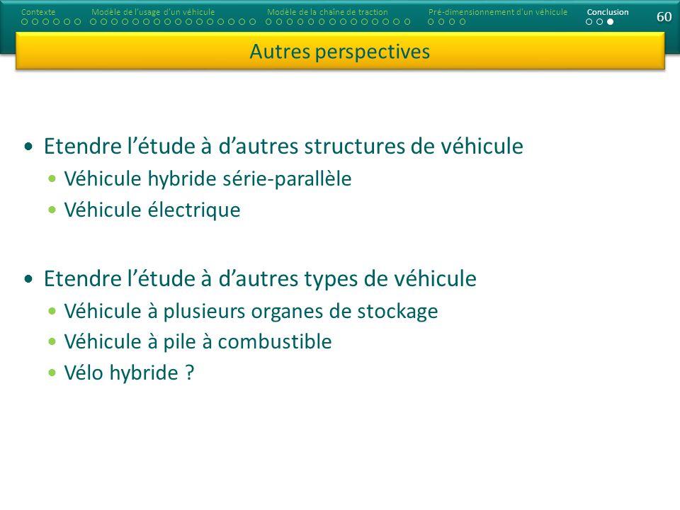 60 Etendre létude à dautres structures de véhicule Véhicule hybride série-parallèle Véhicule électrique Etendre létude à dautres types de véhicule Véh