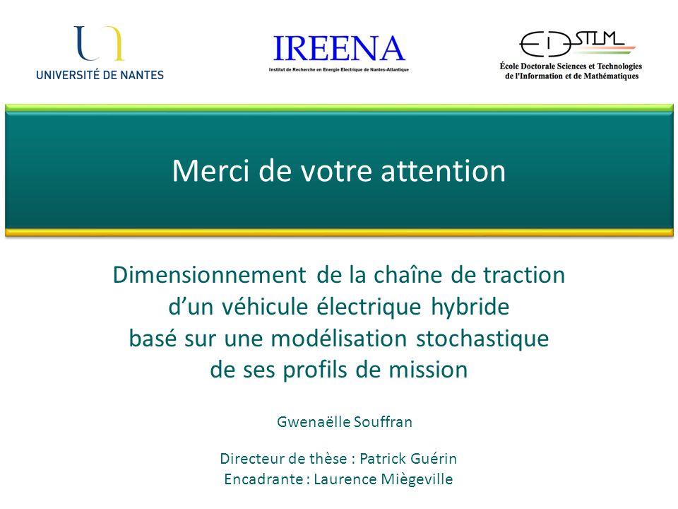 Dimensionnement de la chaîne de traction dun véhicule électrique hybride basé sur une modélisation stochastique de ses profils de mission Merci de vot