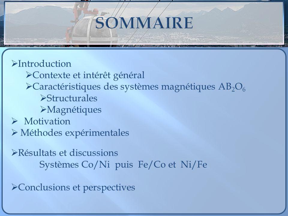 Introduction Contexte et intérêt général Caractéristiques des systèmes magnétiques AB 2 O 6 Structurales Magnétiques Motivation Méthodes expérimentale