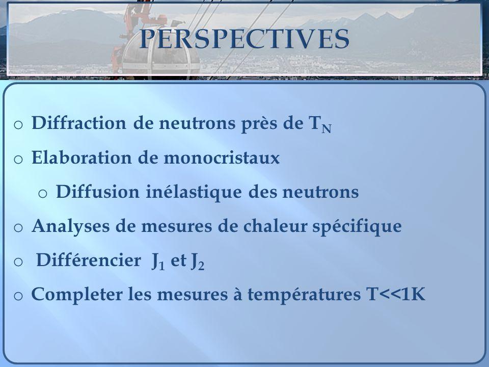 o Diffraction de neutrons près de T N o Elaboration de monocristaux o Diffusion inélastique des neutrons o Analyses de mesures de chaleur spécifique o