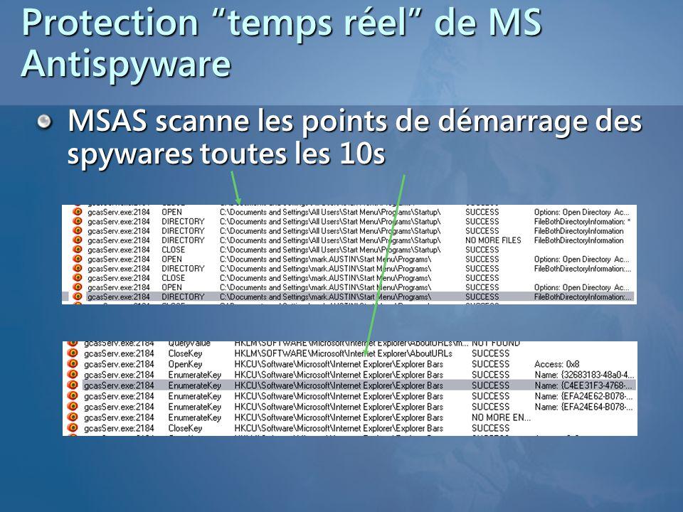 Protection temps réel de MS Antispyware MSAS scanne les points de démarrage des spywares toutes les 10s