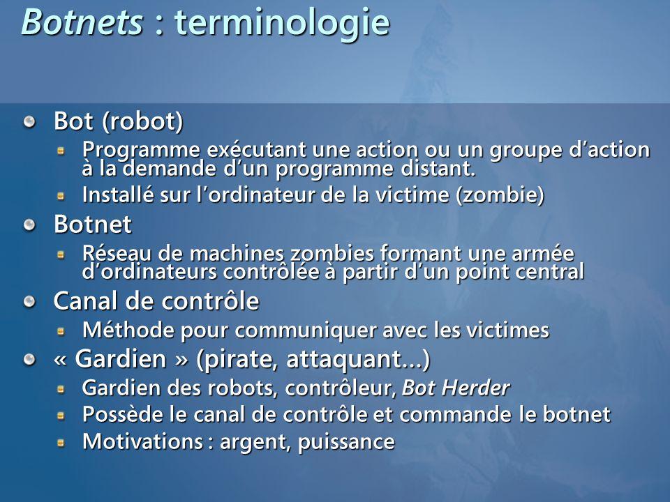 Botnets : terminologie Bot (robot) Programme exécutant une action ou un groupe daction à la demande dun programme distant.