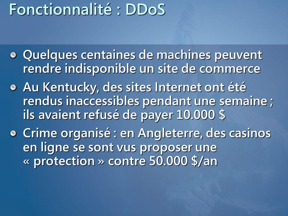 Fonctionnalité : DDoS Quelques centaines de machines peuvent rendre indisponible un site de commerce Au Kentucky, des sites Internet ont été rendus inaccessibles pendant une semaine ; ils avaient refusé de payer 10.000 $ Crime organisé : en Angleterre, des casinos en ligne se sont vus proposer une « protection » contre 50.000 $/an
