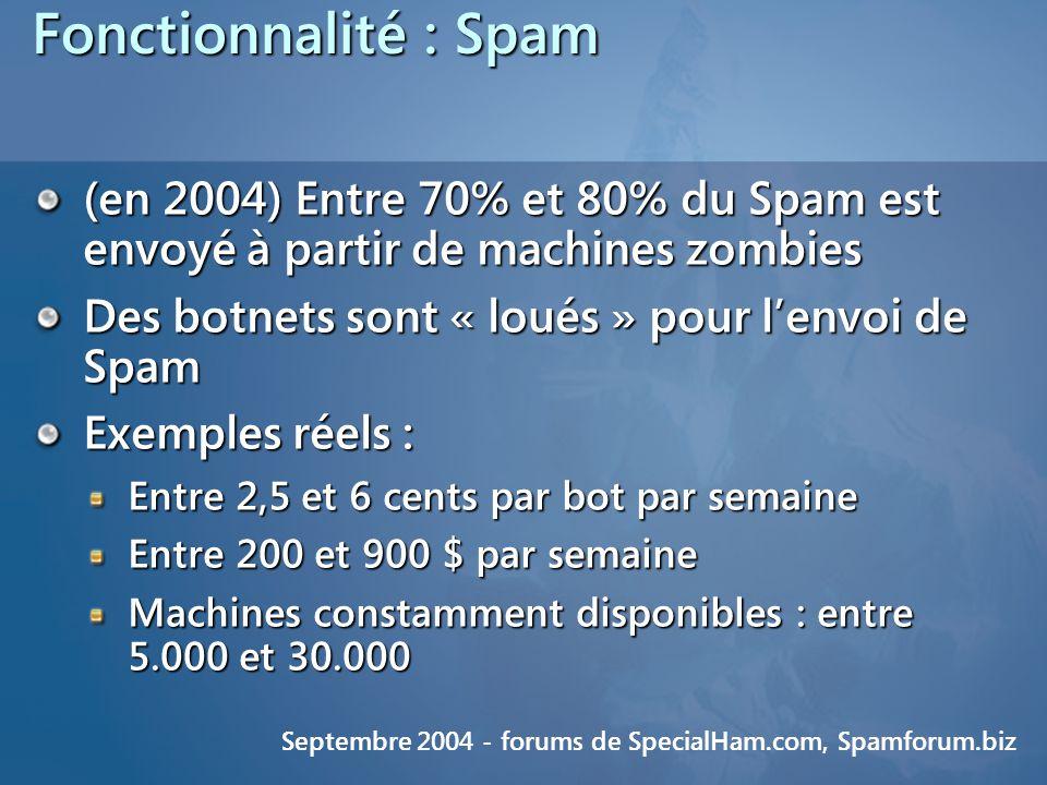 Fonctionnalité : Spam (en 2004) Entre 70% et 80% du Spam est envoyé à partir de machines zombies Des botnets sont « loués » pour lenvoi de Spam Exemples réels : Entre 2,5 et 6 cents par bot par semaine Entre 200 et 900 $ par semaine Machines constamment disponibles : entre 5.000 et 30.000 Septembre 2004 - forums de SpecialHam.com, Spamforum.biz