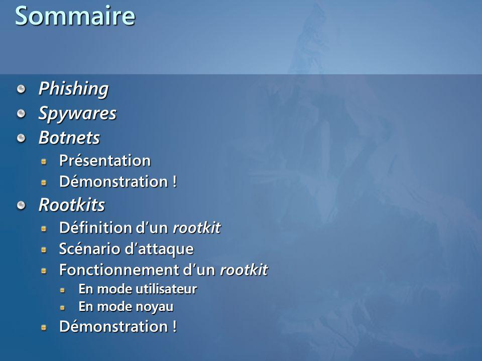 SommairePhishingSpywaresBotnetsPrésentation Démonstration .
