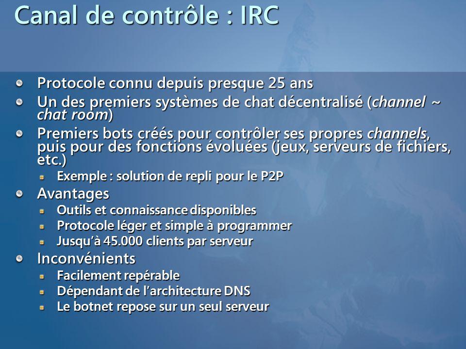 Canal de contrôle : IRC Protocole connu depuis presque 25 ans Un des premiers systèmes de chat décentralisé (channel ~ chat room) Premiers bots créés pour contrôler ses propres channels, puis pour des fonctions évoluées (jeux, serveurs de fichiers, etc.) Exemple : solution de repli pour le P2P Avantages Outils et connaissance disponibles Protocole léger et simple à programmer Jusquà 45.000 clients par serveur Inconvénients Facilement repérable Dépendant de larchitecture DNS Le botnet repose sur un seul serveur
