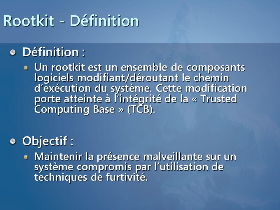 Rootkit - Définition Définition : Un rootkit est un ensemble de composants logiciels modifiant/déroutant le chemin dexécution du système.