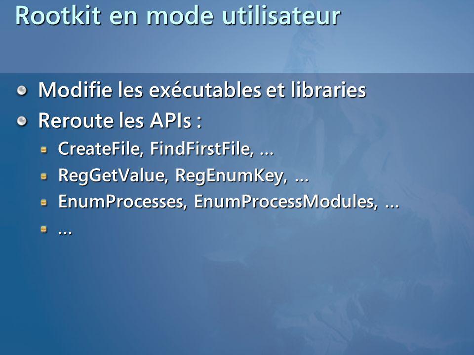 Rootkit en mode utilisateur Modifie les exécutables et libraries Reroute les APIs : CreateFile, FindFirstFile, … RegGetValue, RegEnumKey, … EnumProcesses, EnumProcessModules, … …