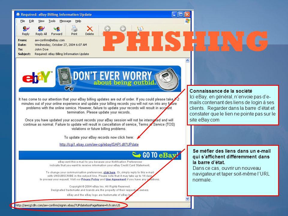 Connaissance de la société Ici eBay, en général, nenvoie pas de- mails contenant des liens de login à ses clients.