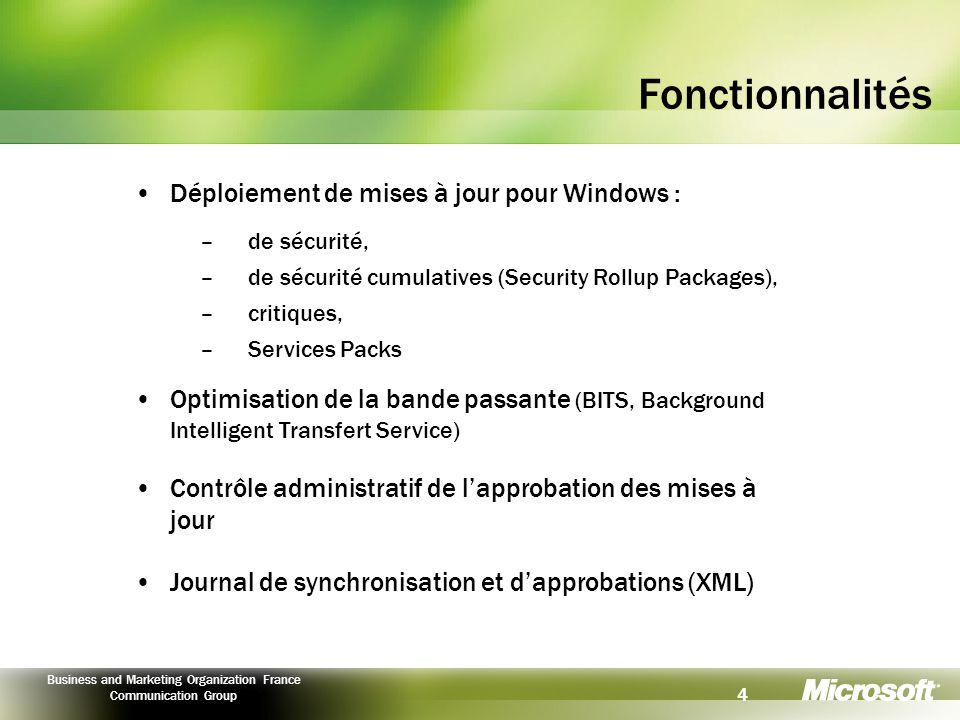5 Business and Marketing Organization France Communication Group Principe général Serveur SUS Primaire Pare-feu Secondaire Windows Update Serveur SUS Secondaire