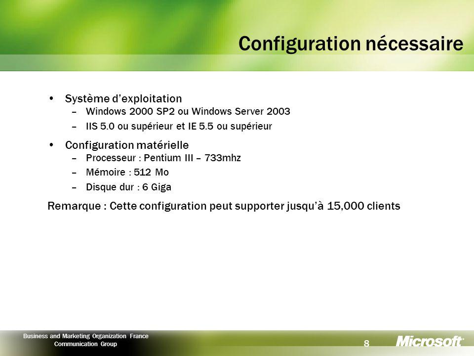 9 Business and Marketing Organization France Communication Group Ressources Site Web SUS http://www.microsoft.com/windowsserversystem/sus/default.mspx Documents : FAQ : http://www.microsoft.com/windows2000/windowsupdate/sus/susfaq.asp Livre blanc : http://www.microsoft.com/windows2000/windowsupdate/sus/susdeployment.asp