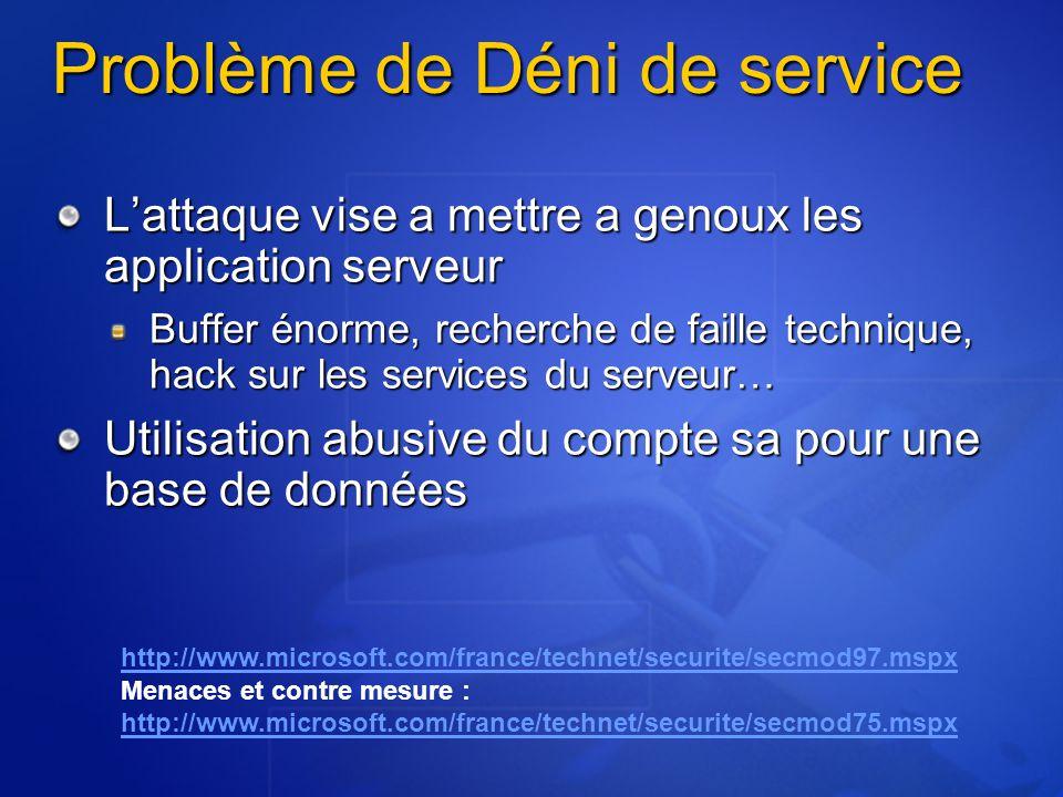 Problème de Déni de service Problème de Déni de service Lattaque vise a mettre a genoux les application serveur Buffer énorme, recherche de faille tec