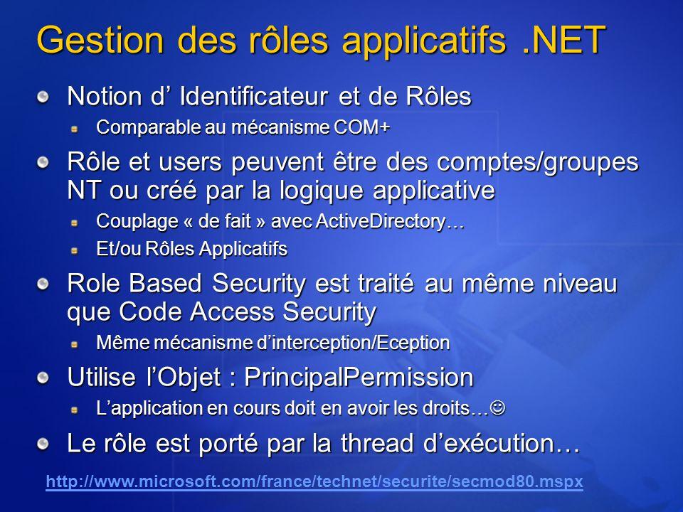 Gestion des rôles applicatifs.NET Notion d Identificateur et de Rôles Comparable au mécanisme COM+ Rôle et users peuvent être des comptes/groupes NT o