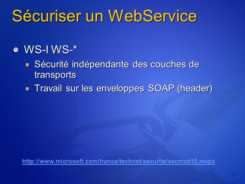 Sécuriser un WebService WS-I WS-* Sécurité indépendante des couches de transports Travail sur les enveloppes SOAP (header) http://www.microsoft.com/fr