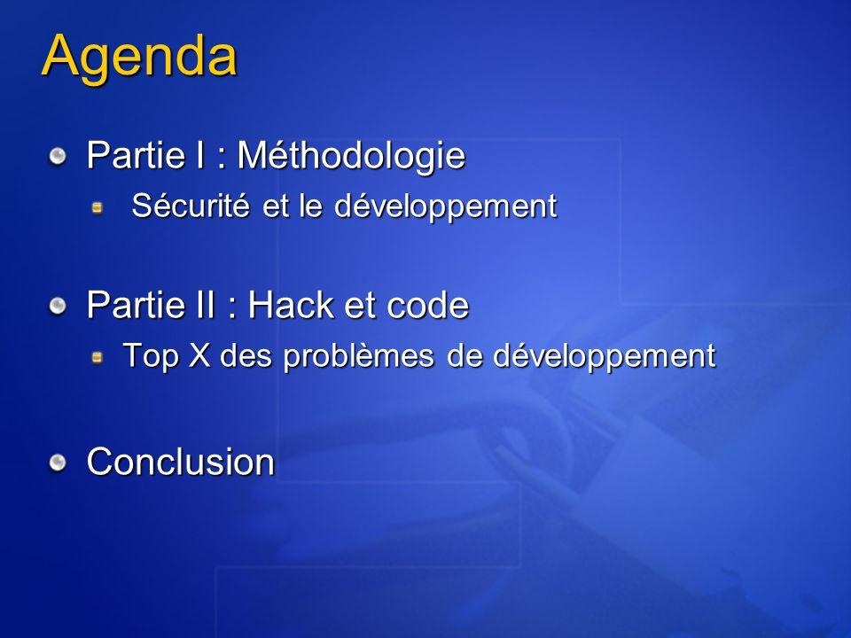 Agenda Partie I : Méthodologie Sécurité et le développement Sécurité et le développement Partie II : Hack et code Top X des problèmes de développement