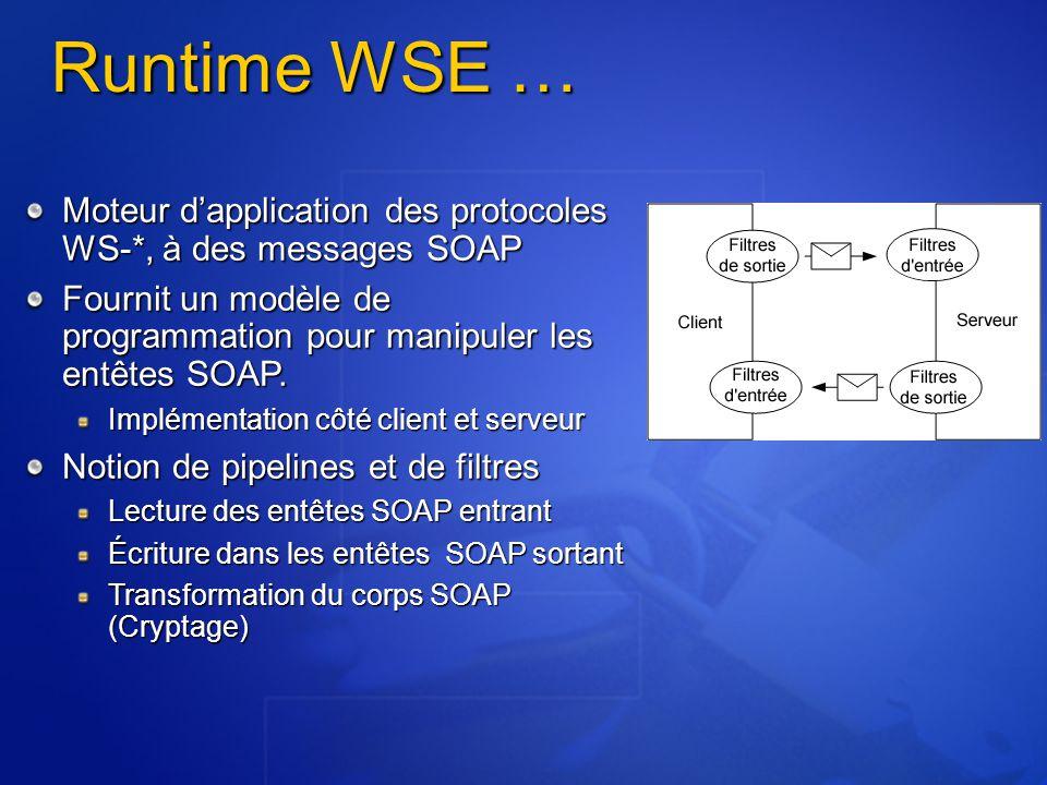 Runtime WSE … Moteur dapplication des protocoles WS-*, à des messages SOAP Fournit un modèle de programmation pour manipuler les entêtes SOAP. Impléme