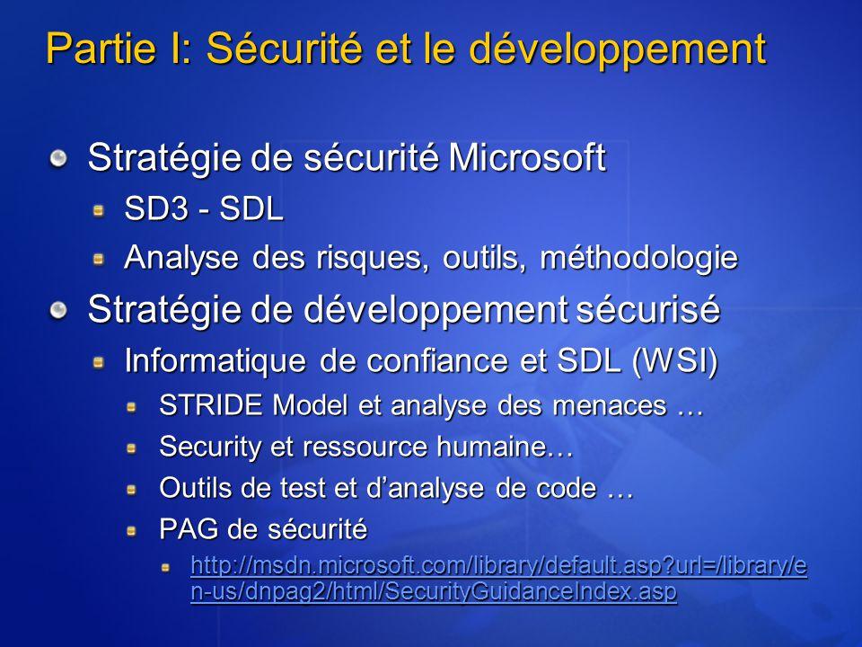 Partie I: Sécurité et le développement Stratégie de sécurité Microsoft SD3 - SDL Analyse des risques, outils, méthodologie Stratégie de développement