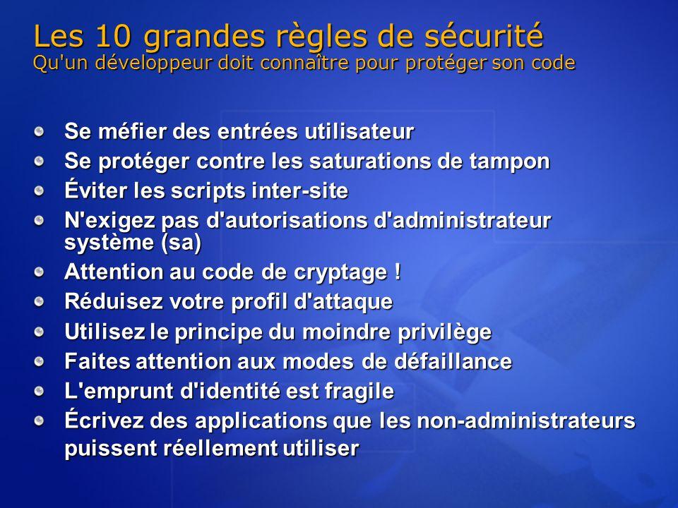 Les 10 grandes règles de sécurité Qu'un développeur doit connaître pour protéger son code Se méfier des entrées utilisateur Se protéger contre les sat
