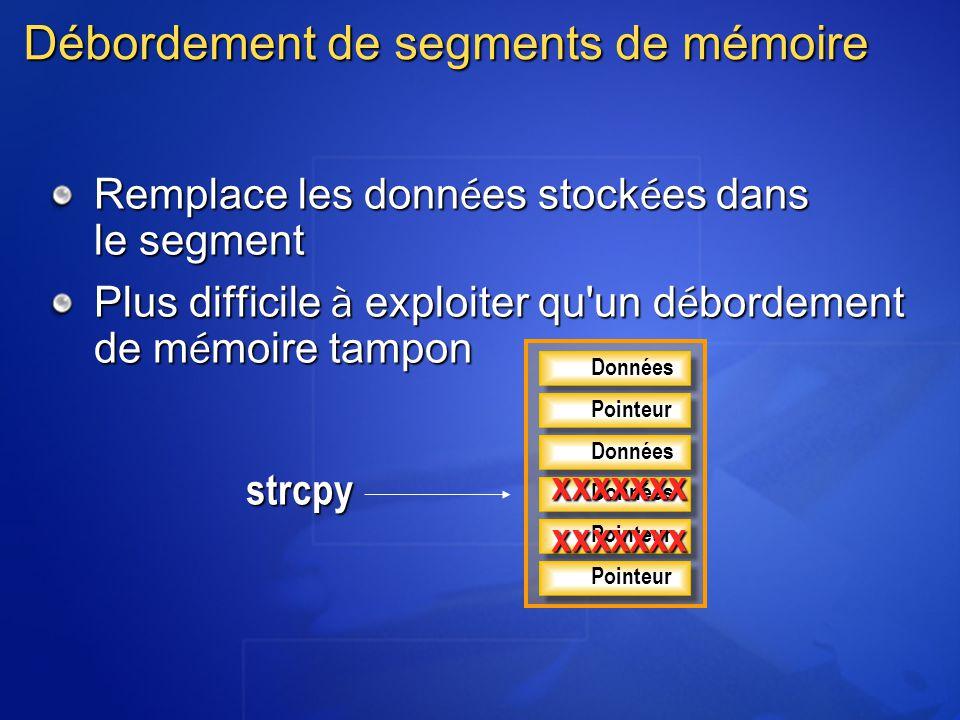 Débordement de segments de mémoire Remplace les donn é es stock é es dans le segment Plus difficile à exploiter qu'un d é bordement de m é moire tampo