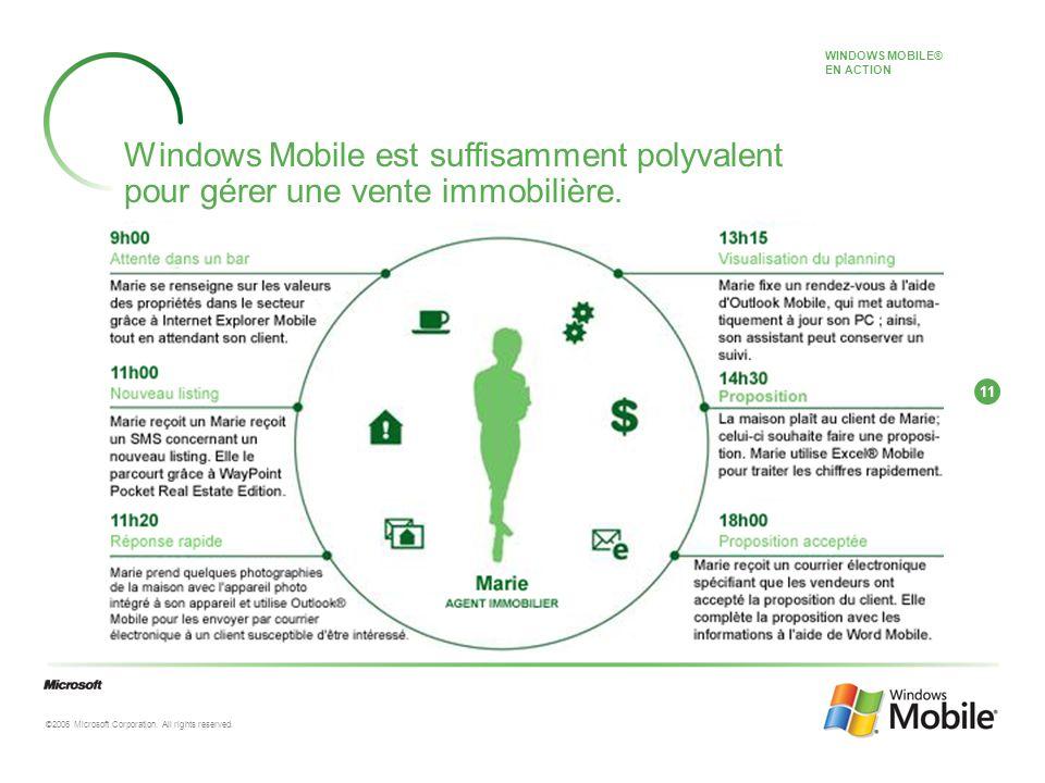 11 ©2006 Microsoft Corporation. All rights reserved. Windows Mobile est suffisamment polyvalent pour gérer une vente immobilière. WINDOWS MOBILE® EN A