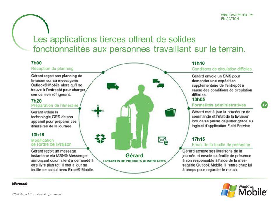 12 ©2006 Microsoft Corporation. All rights reserved. Les applications tierces offrent de solides fonctionnalités aux personnes travaillant sur le terr