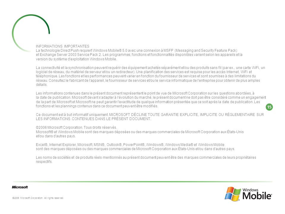 15 ©2006 Microsoft Corporation.All rights reserved.