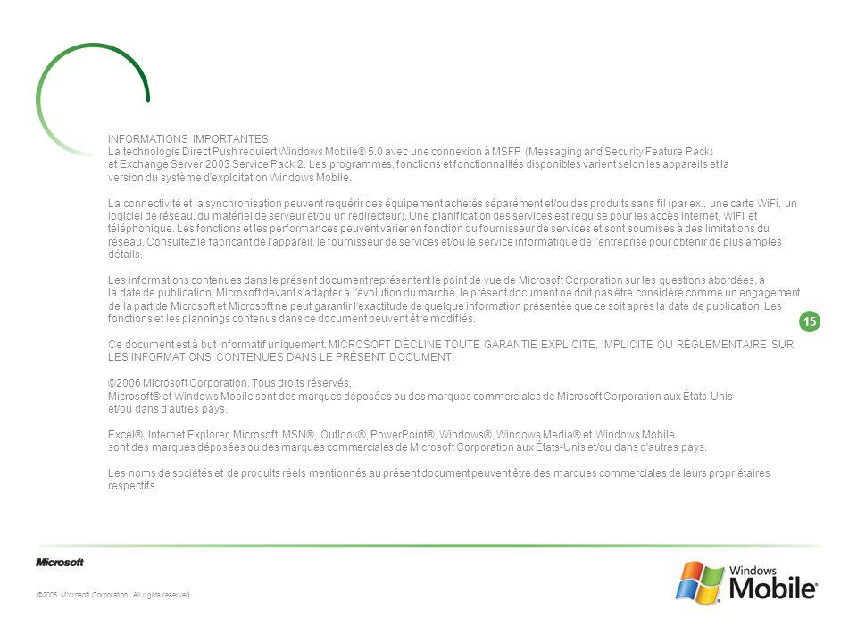 15 ©2006 Microsoft Corporation. All rights reserved. INFORMATIONS IMPORTANTES La technologie Direct Push requiert Windows Mobile® 5.0 avec une connexi