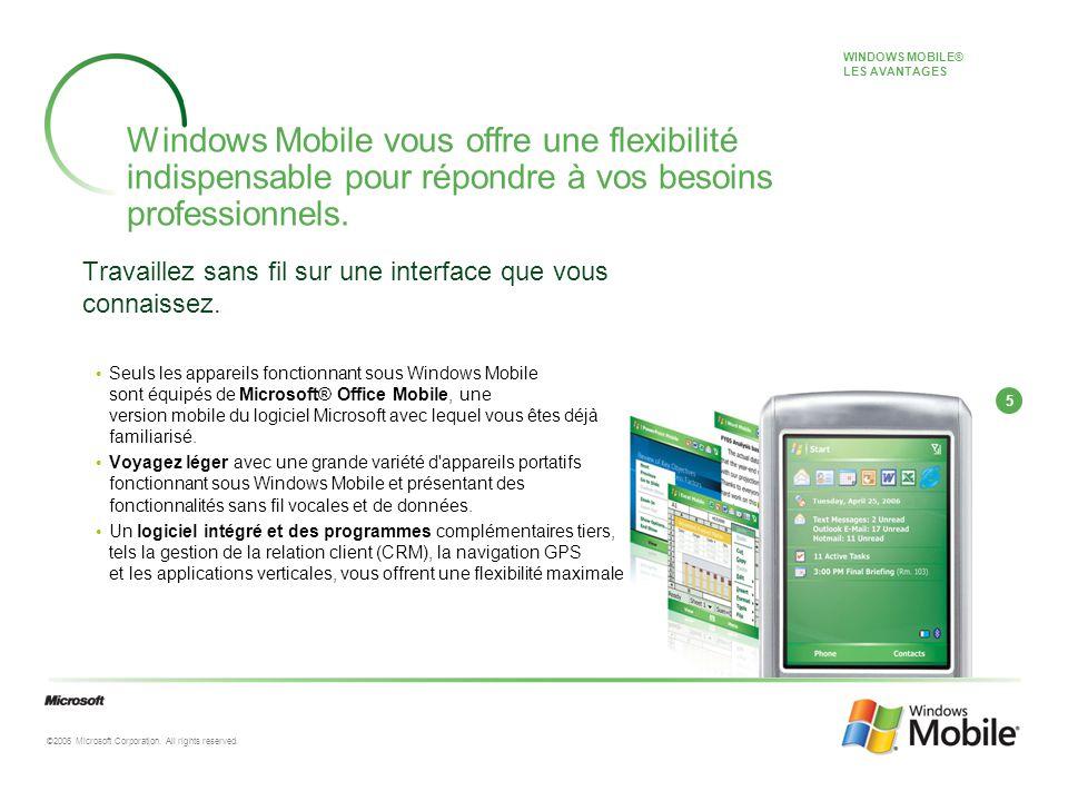 5 ©2006 Microsoft Corporation. All rights reserved. Windows Mobile vous offre une flexibilité indispensable pour répondre à vos besoins professionnels