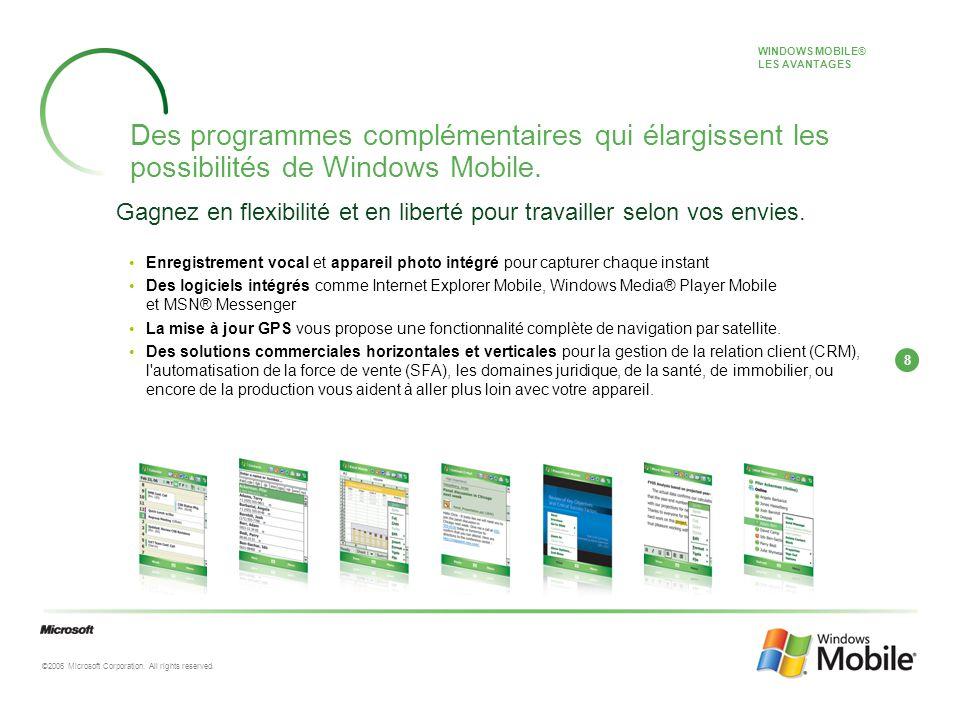 8 ©2006 Microsoft Corporation. All rights reserved. Des programmes complémentaires qui élargissent les possibilités de Windows Mobile. WINDOWS MOBILE®