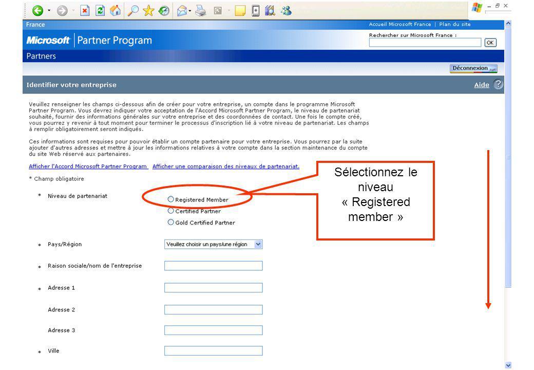 Sélectionnez le niveau « Registered member »