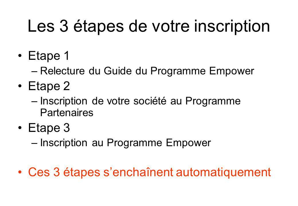 Les 3 étapes de votre inscription Etape 1 –Relecture du Guide du Programme Empower Etape 2 –Inscription de votre société au Programme Partenaires Etape 3 –Inscription au Programme Empower Ces 3 étapes senchaînent automatiquement