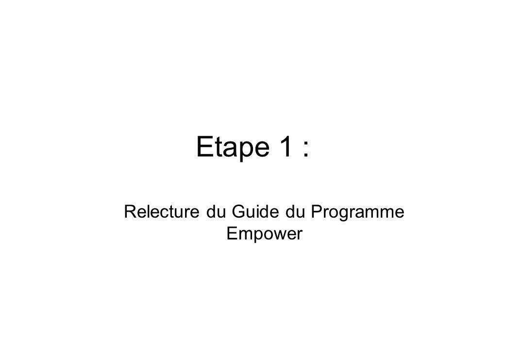 Etape 1 : Relecture du Guide du Programme Empower