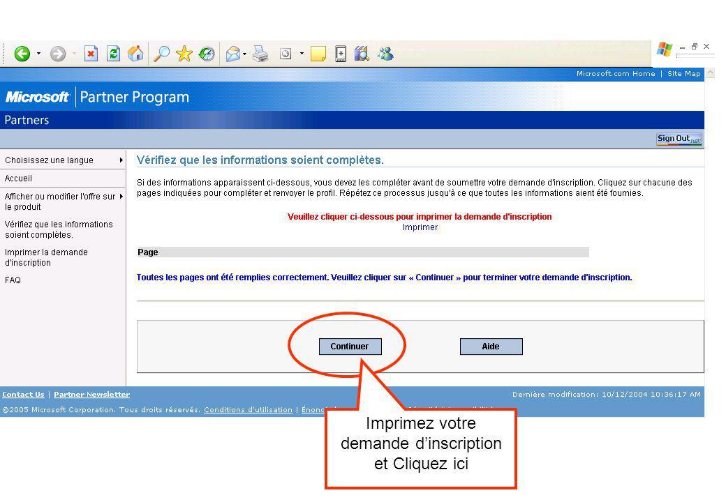 Imprimez votre demande dinscription et Cliquez ici