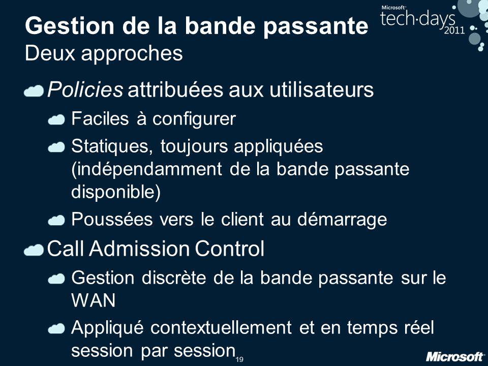 19 Gestion de la bande passante Deux approches Policies attribuées aux utilisateurs Faciles à configurer Statiques, toujours appliquées (indépendammen
