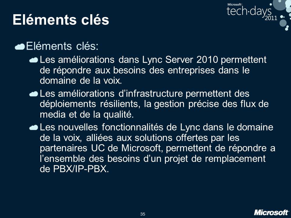 35 Eléments clés Eléments clés: Les améliorations dans Lync Server 2010 permettent de répondre aux besoins des entreprises dans le domaine de la voix.