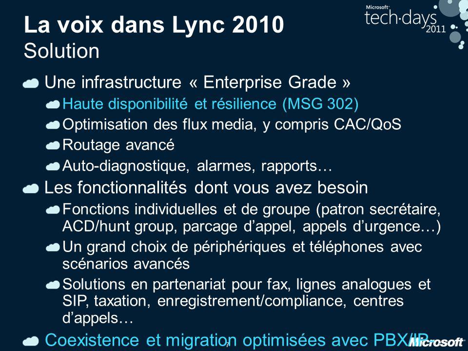 7 La voix dans Lync 2010 Solution Une infrastructure « Enterprise Grade » Haute disponibilité et résilience (MSG 302) Optimisation des flux media, y c
