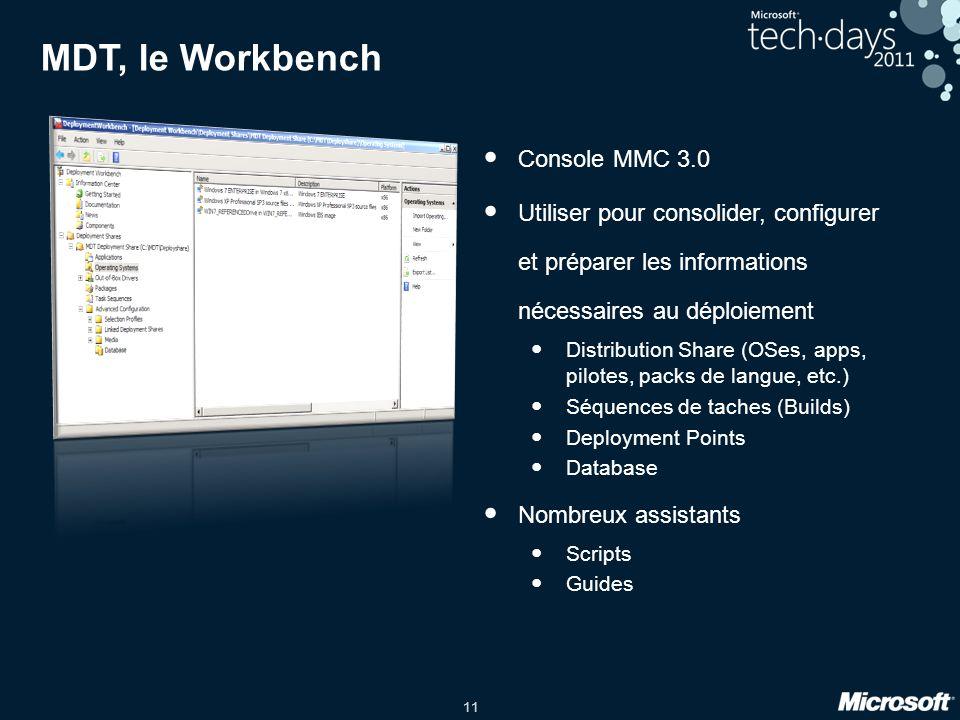 11 Console MMC 3.0 Utiliser pour consolider, configurer et préparer les informations nécessaires au déploiement Distribution Share (OSes, apps, pilote