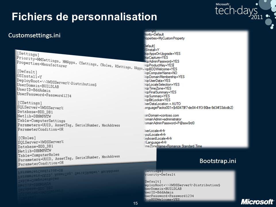 15 Fichiers de personnalisation Customsettings.ini Bootstrap.ini