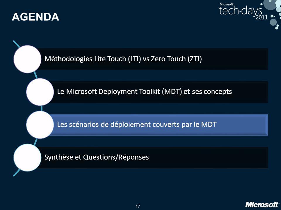 17 AGENDA Méthodologies Lite Touch (LTI) vs Zero Touch (ZTI) Le Microsoft Deployment Toolkit (MDT) et ses concepts Les scénarios de déploiement couver