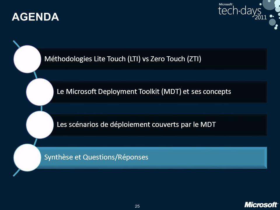 25 AGENDA Méthodologies Lite Touch (LTI) vs Zero Touch (ZTI) Le Microsoft Deployment Toolkit (MDT) et ses concepts Les scénarios de déploiement couver