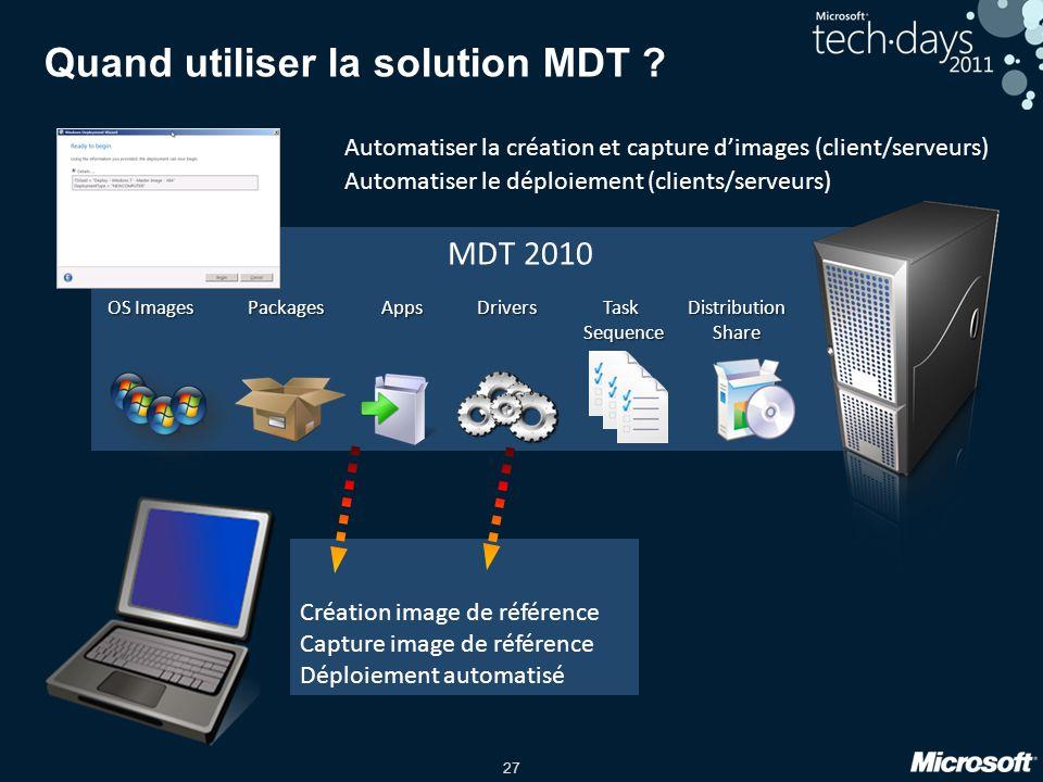 27 Création image de référence Capture image de référence Déploiement automatisé MDT 2010 Quand utiliser la solution MDT ? Automatiser la création et