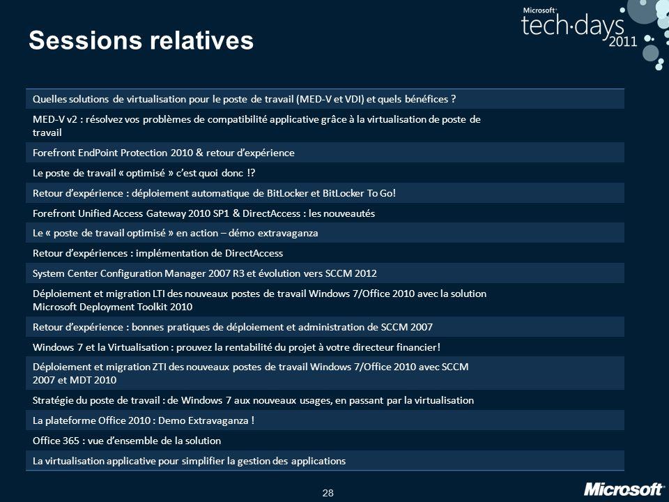 28 Sessions relatives Quelles solutions de virtualisation pour le poste de travail (MED-V et VDI) et quels bénéfices ? MED-V v2 : résolvez vos problèm