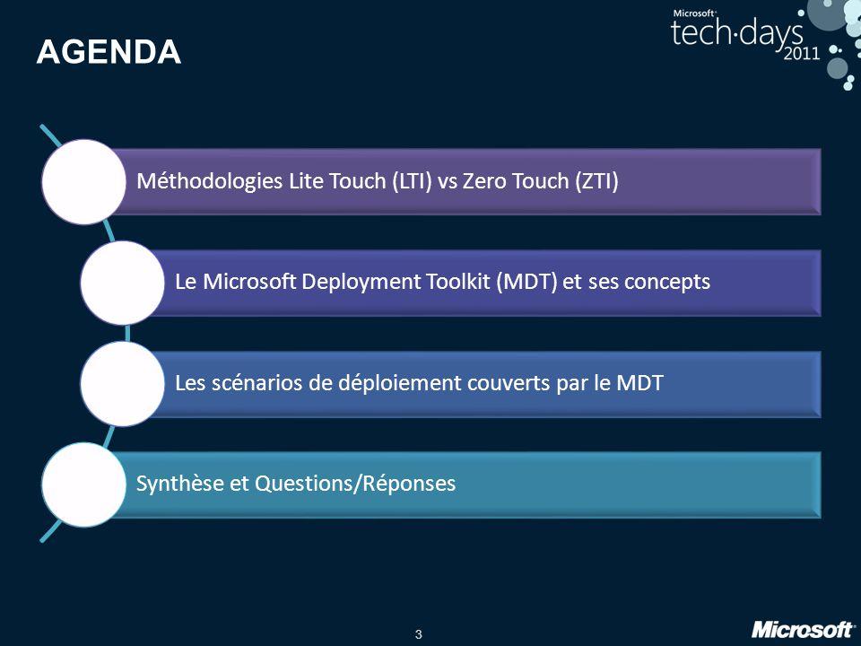 3 AGENDA Méthodologies Lite Touch (LTI) vs Zero Touch (ZTI) Le Microsoft Deployment Toolkit (MDT) et ses concepts Les scénarios de déploiement couvert
