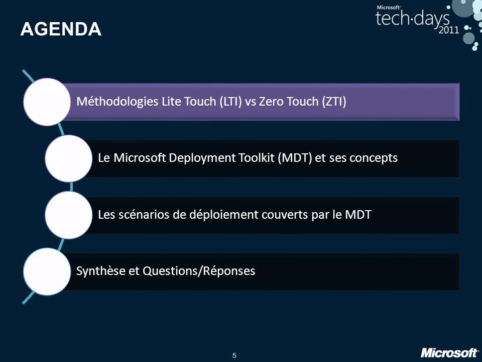 5 AGENDA Méthodologies Lite Touch (LTI) vs Zero Touch (ZTI) Le Microsoft Deployment Toolkit (MDT) et ses concepts Les scénarios de déploiement couvert